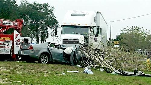 driverless semi crashes into car