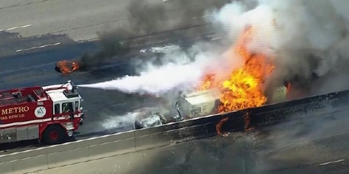 Tanker explosion shuts down I-25