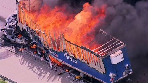 Fiery I-55 crash