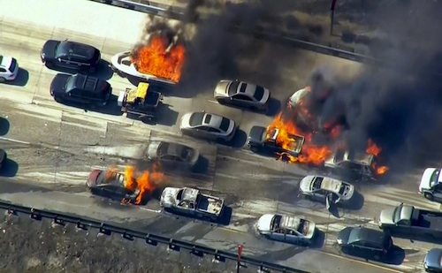 vehicles on fire