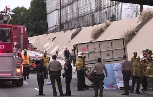 Cyclist crushed by shipping container