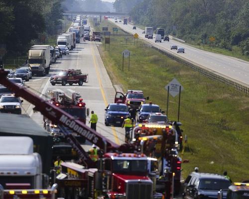 Traffic backed up after I-94 crash