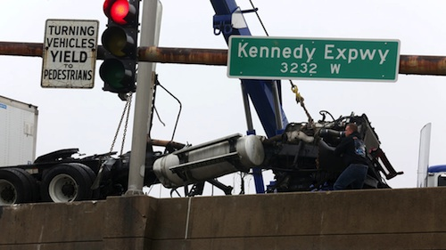 truck crashes on Kennedy Expressway