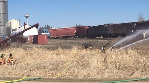 derailed train hit fuel truck