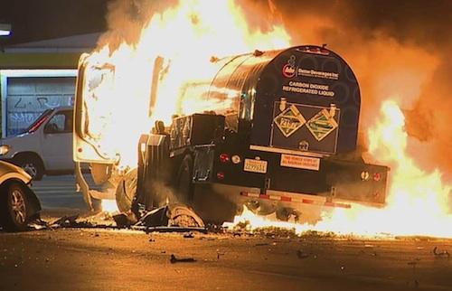 Tanker truck explosion Los Angeles
