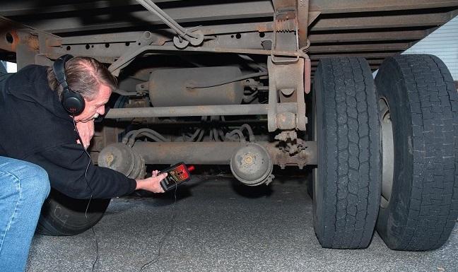 A driver testing air brakes