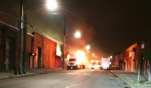 Seven semis set on fire