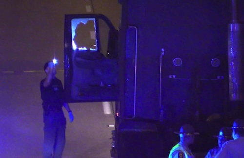 truck driver shot in face