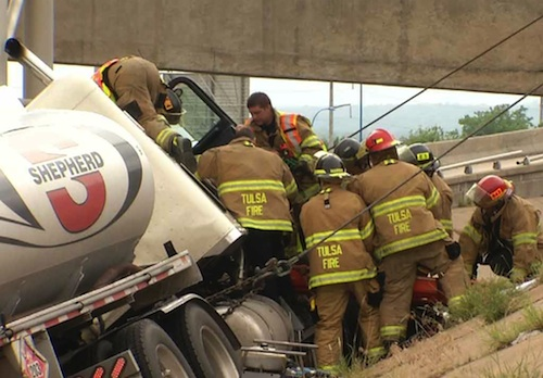 firefighters rescue truck driver
