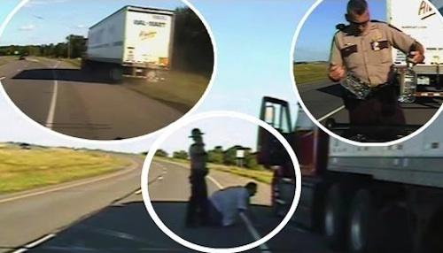 Drunk truck driver dashcam