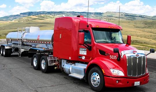 Groendyke Truck cloudy highway