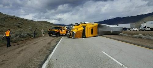 overturned semi-truck