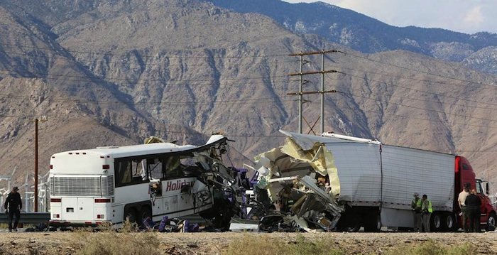 Truck driver charged in Palm Springs tour bus crash