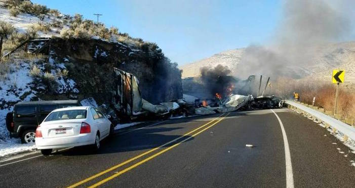 two truck drivers die in fiery crash