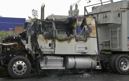 Cabs burned in semi-trucks