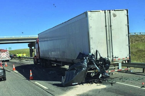 pick-up truck crushed into metal ball