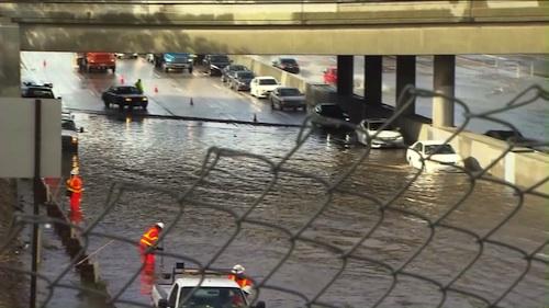 5 freeway flooded by rain