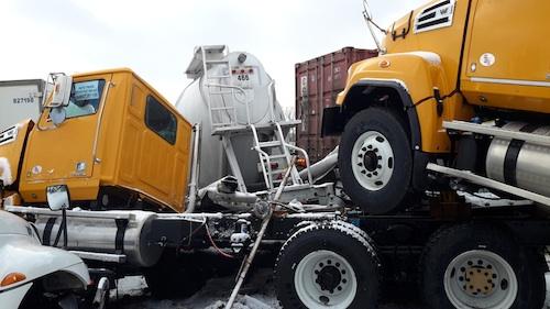 Semi-truck Pile-up