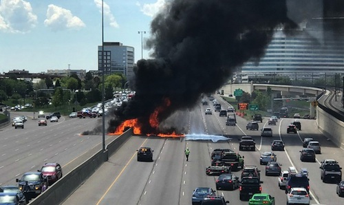 Driver jumps out of burning truck on highway near Denver
