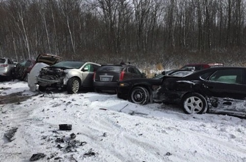 multi-car crash in Michigan