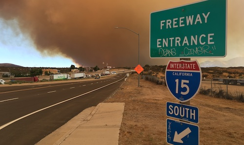 Wildfire forces 1-15 closure