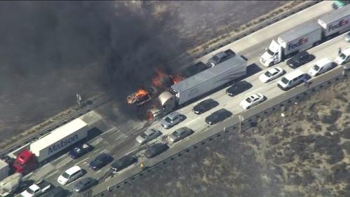 fire on 15 Freeway