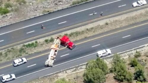 Gun shots fired in trucker police chase