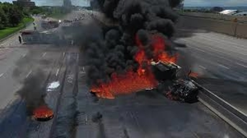 Driver survives tanker explosion