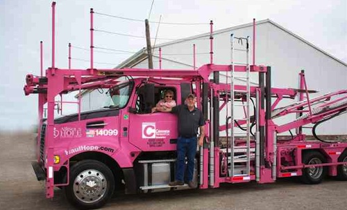 truck driver pink rig
