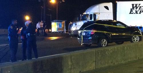 Stuck semi-truck shot down